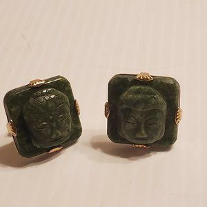 Swank gold plated green natural stone cufflinks